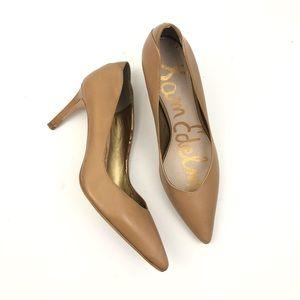 Sam Edelman tan leather pointed toe heels size 8